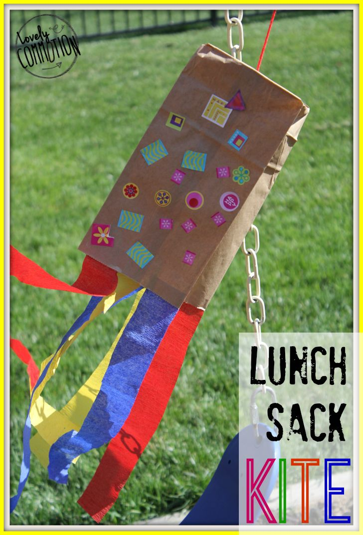 The grass is greener, the flowers are beginning to bloom and kids can be heard playing outside. It's spring and with spring comes wind. So, instead of wishing the wind away, we made lunch sack kites to fly in the wind! These kites were perfect for my 2 and 3 year olds. Plus I had all the