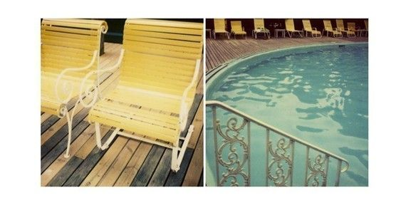 Polaroid Photography - Swimming Pool - Swimming at the Grand- Signed Fine Art Photograph Michigan Swimming Pool via Etsy