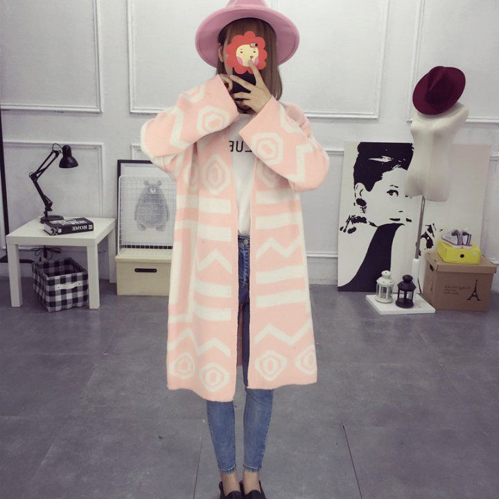 CW52798 Korean style student coat long autumn and winter cardigan