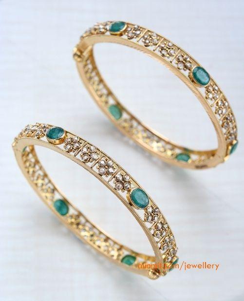 diamond and emerald bangles
