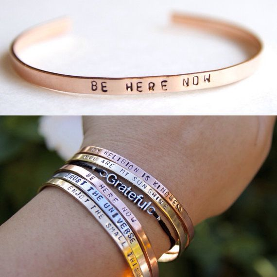 Thin Cuff Bracelet. Be here now. Yoga Jewelry. by BrielleBelle
