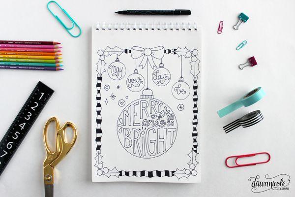무료 메리 & 밝은 크리스마스 색칠 페이지 + 카드 |  dawnnicoledesigns.com