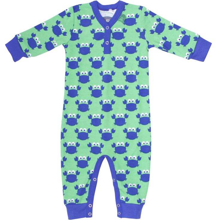Fred's World - Organic Playsuit Crab - Green/Blue