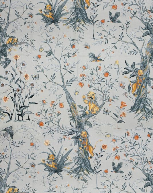 Leo de Janeiro Fabric A charming and lush printed linen that brings to life the 'Lion of January', inspired by the universally iconic dancing lion at Chinese New Year parades. The design celebrates festivity and nature, bringing a fresh take on classic chinoiserie motifs. Shown in smoke grey and ochre.