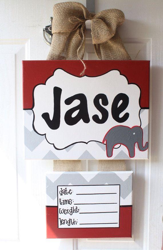 Hospital door hanger, hospital door wreath, baby shower gift elephant baby bedding