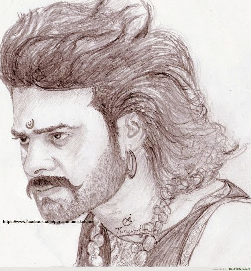 Image result for bahubali 2 prabhas rana still pencil sketch