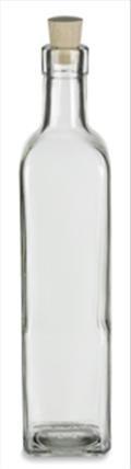 Quadra Square Glass Bottle 17 oz (500ml) w/ Cork