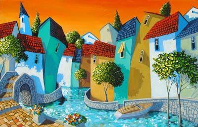 "Miguel Freitas: ""Across The Bridge"", acrylic on board."