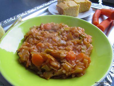 Zeytinyağlı pırasa yemeği (Turks stoofgerechtje van prei, wortel en rijst)