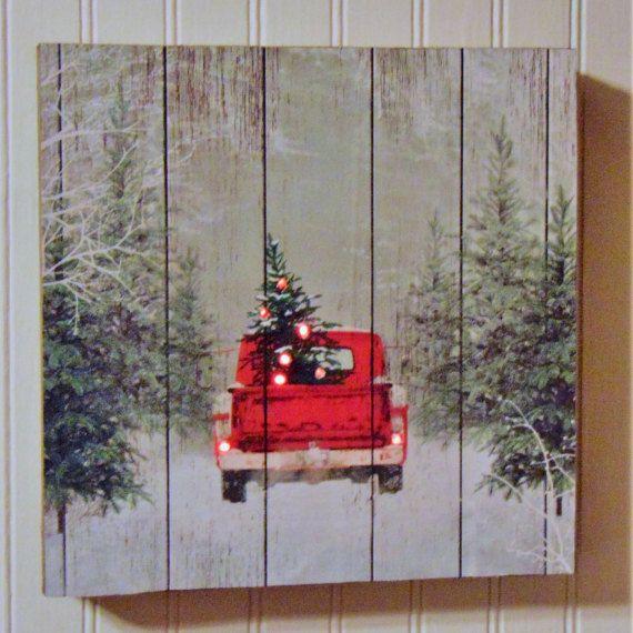Handmade Christmas Vintage Truck Sign Christmas Red