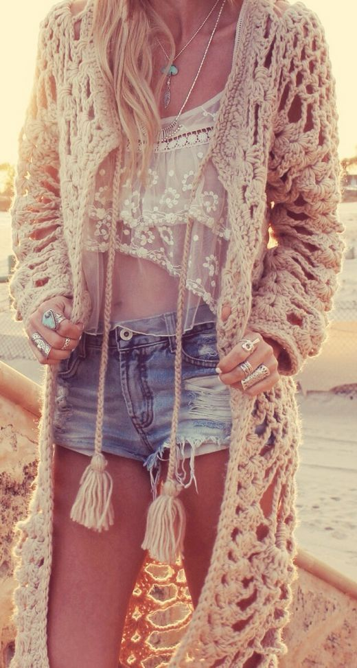 Boho chic full length crochet shawl.