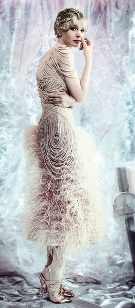Vogue - McQueen ostrich feather dress..there is so much inspiration to found from this dress. beads, feathers, color.DG