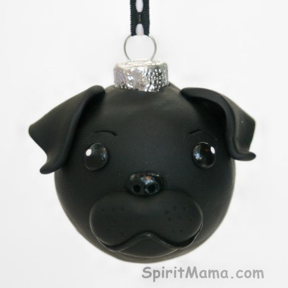 Black Pug Dog Round Tree Ornament Dog Breed Art by SpiritMama, $25.00