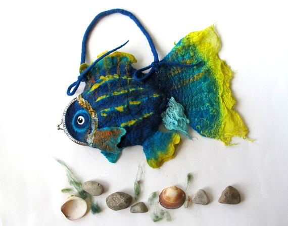 Felt fish purse cosmetic purse felt purse Blue   Fish  Yellow