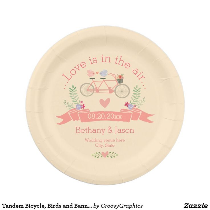 Tandem Bicycle Birds and Banner Wedding Paper Plate  sc 1 st  Pinterest & 113 best Wedding Paper Plates images on Pinterest | Wedding paper ...