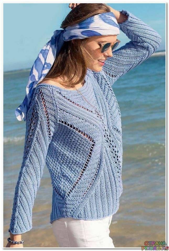 Голубой пуловер спицами - Жакеты,Пуловеры, свитера - Вязание спицами - Рукоделие