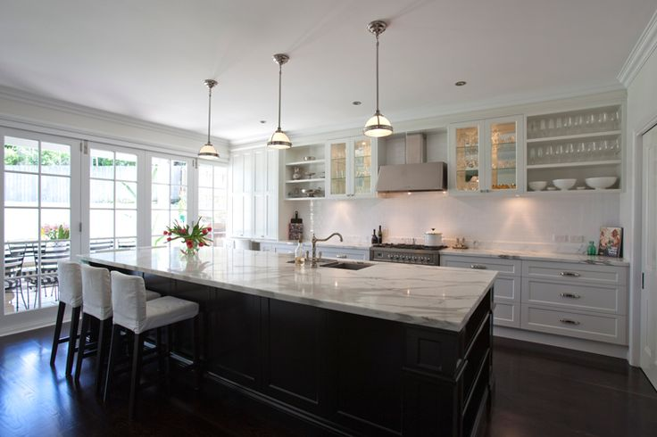 Galley kitchen with large island bench kitchen ideas for Black and white galley kitchen