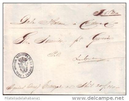 """CUBA MARITIME MAIL \""""SHIP GOLETA JUANITA\"""" 1860. CORREO DE CABOTAJE. CONOCIMIENTO DE EMBARQUE HABANA A CARDENAS."""