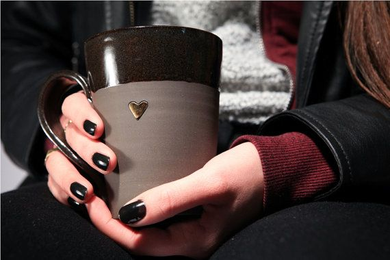 Hey, I found this really awesome Etsy listing at https://www.etsy.com/listing/214801413/large-black-coffee-mug-with-pure-gold