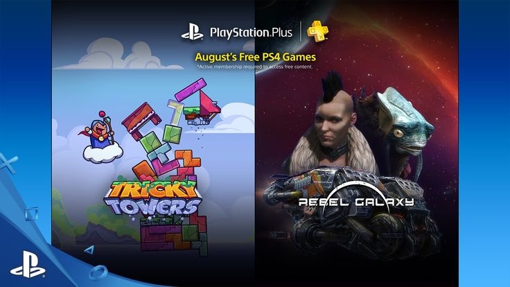 PlayStation Plus Free PS4 Games Lineup August 2016 PlayStation®Plus membership includes free games and online multiplayer on PS4™ systems.* In July, PS Plus membership includes Tricky Towers and Rebel Galaxy.Visit https://store.sonyentertainmentnetwork.com/#!/en-us/become-a-member/cid=STORE-MSF77008-PSPLUSMEMBER?smcid=yt:psplus-gamelineup-022014 to learn more! https://store.sonyentertainmentnetwork.com/#!/en-us/become-a-member/cid=STORE-MSF77008-PSPLUSMEMBER?smcid=yt:psplus-gamelineup-022014
