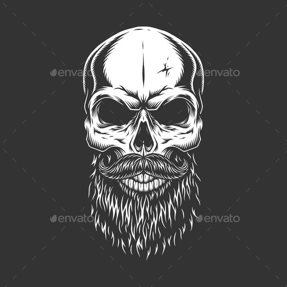 Monochrome Skull With Beard Skull Beard Bearded Skull Tattoo Viking Skull Art