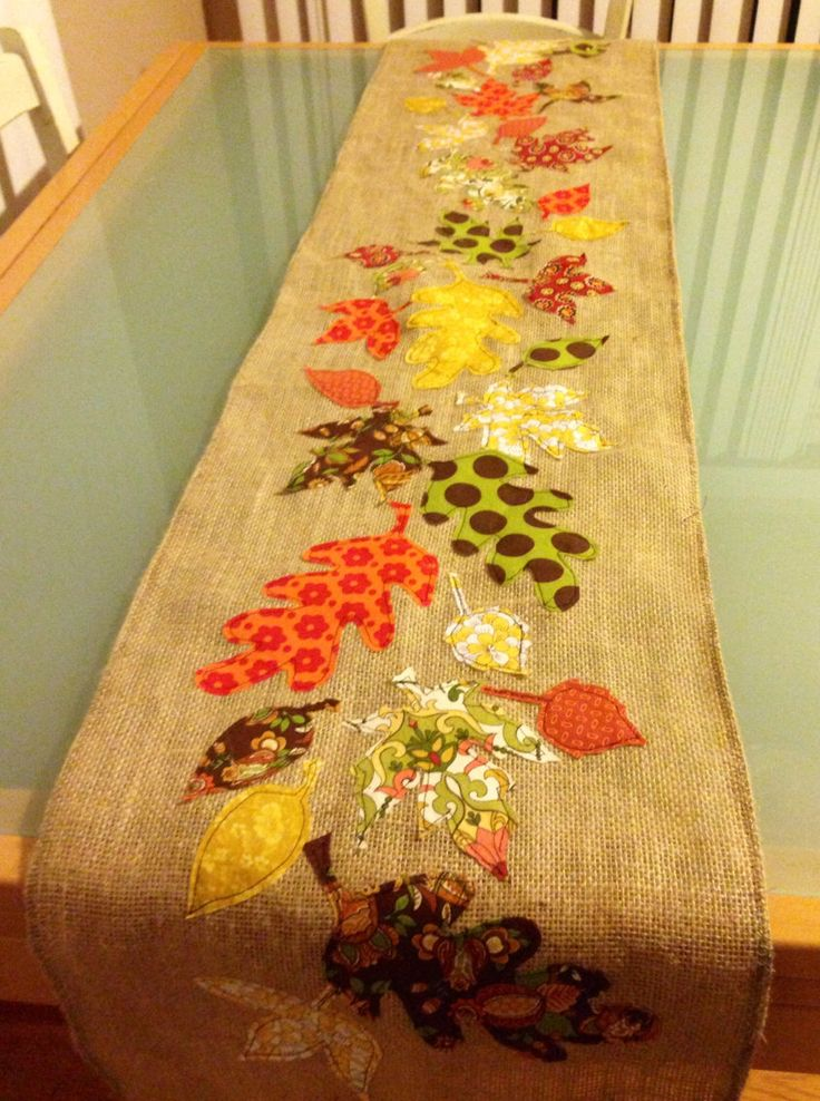 Fall leaves table runner by HerWhiteWickerChair on Etsy https://www.etsy.com/listing/168821573/fall-leaves-table-runner