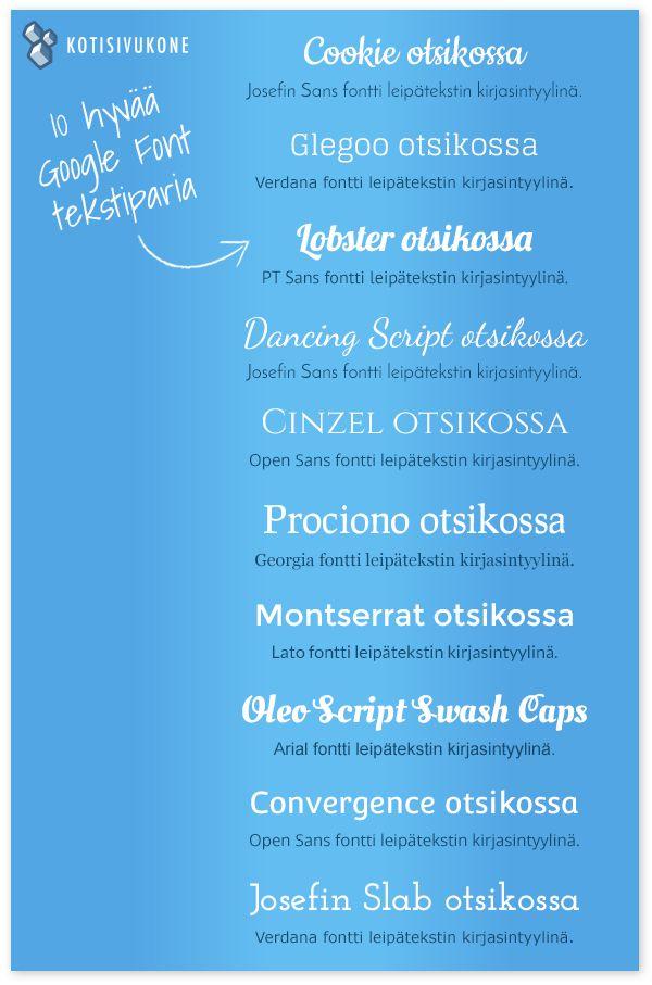 10 hyvää Google Font tekstiparia. Sopivalla tekstityylillä varmistat, että kotisivujesi sisältö on paitsi luettavaa, myös näyttää hyvältä. Muutamia yksinkertaisia sääntöjä noudattamalla varmistat kotisivujesi hyvän luettavuuden ja harmonisen yleisilmeen. Lue vinkit Kotisivukoulusta!