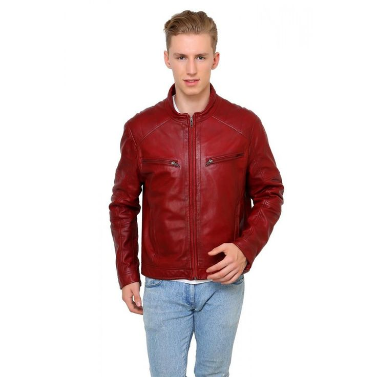 Buy Red Leather Jacket for Men - Goguava  http://goo.gl/XqF09Z