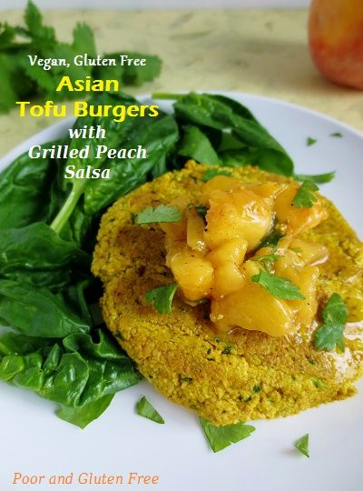 Vegan and Gluten Free Asian Tofu Burgers with Chili-Lime Grilled Peach Salsa