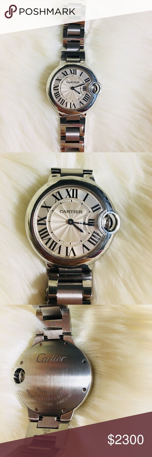 Cartier ballon bleu de watch 33mm, quartz movement, steel. Can't find the box or the paperwork. Just the watch. Only used for a few times. Cartier Accessories Watches