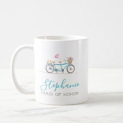Watercolor Tandem Bicycle Coffee Mug - home gifts ideas decor special unique custom individual customized individualized