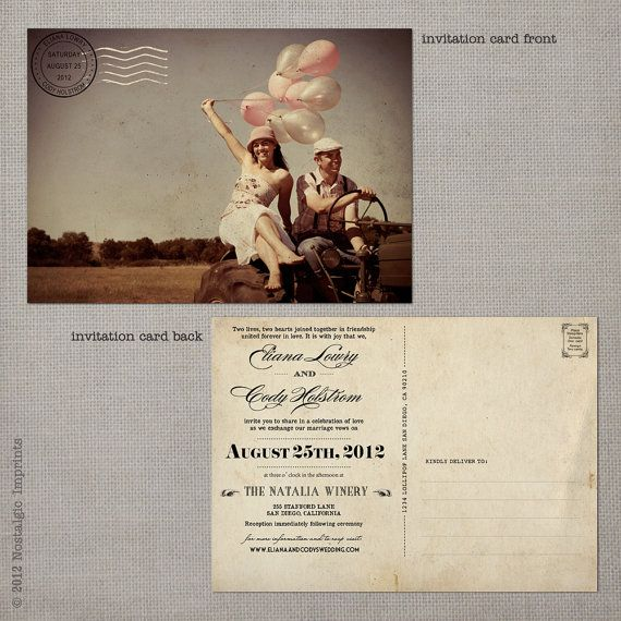 Postcard Wedding Invitations / Wedding guest by NostalgicImprints