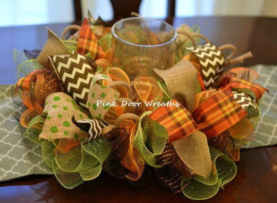 Made to Order - Table Centerpiece Candle Holder THANKSGIVING FALL brown orange green burlap custom ribbons mesh any color theme sparkle