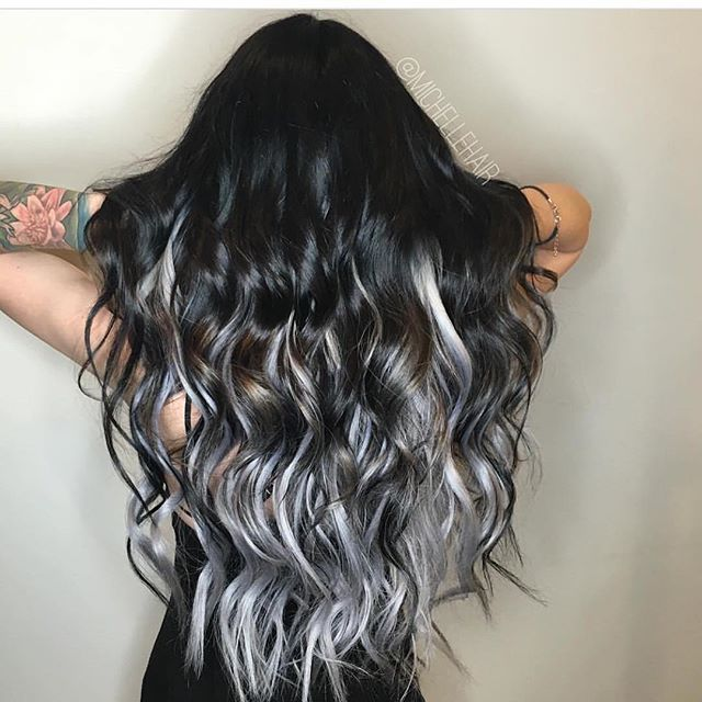 Wicked hot black to silver color melt by @michellehair Michelle is a BTC One…