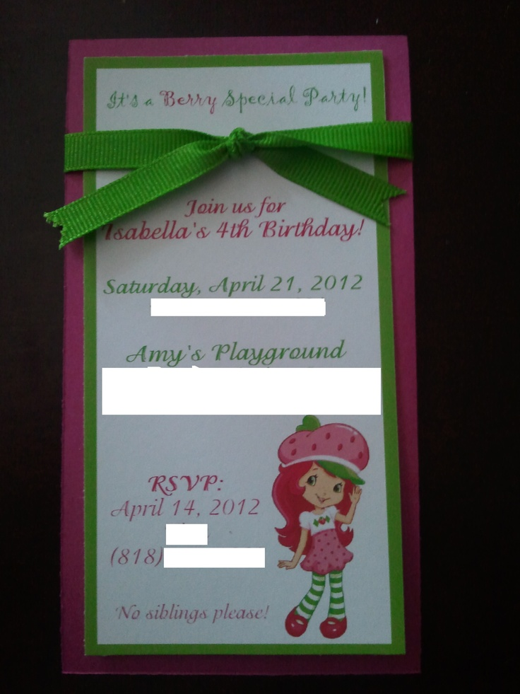 Strawberry Shortcake Party Invitation  $2