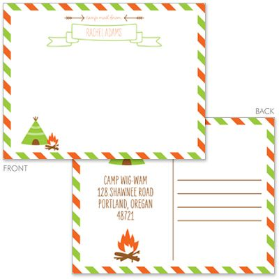 Personalized Teepee Camp Flat Postcards