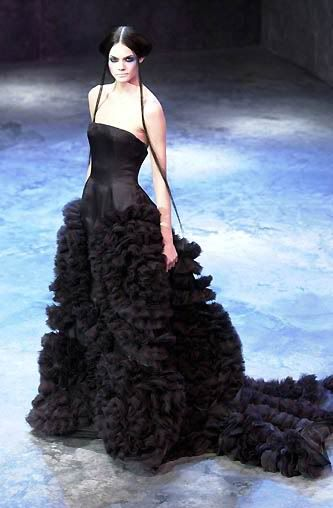 Alexander McQueen for Givenchy - black strapless satin bodice will full black ruffled skirt and train