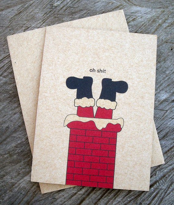 Funny Christmas Card  Oh Shit ECOFRIENDLY by BeechwoodGraphicsInc, $3.50