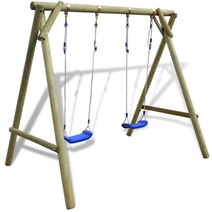 Kids Swing Set Made Of Durable Pinewood Christmas Gift Packs Brown Blue Colored