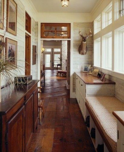 neat door idea: Ideas, Dreams, Wood, Hallways, Floors, Mudrooms, Mud Rooms, Deer Head, Rivers Houses