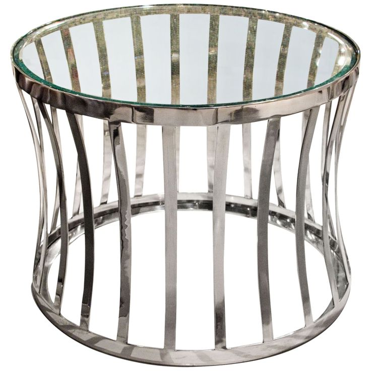 Capri Stainless Steel Open Drum Round Glass End Table - Style # 9C300