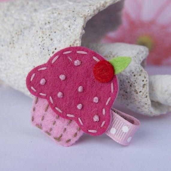 Fieltro Cupcake Clip  blanco rosado marrón  colores