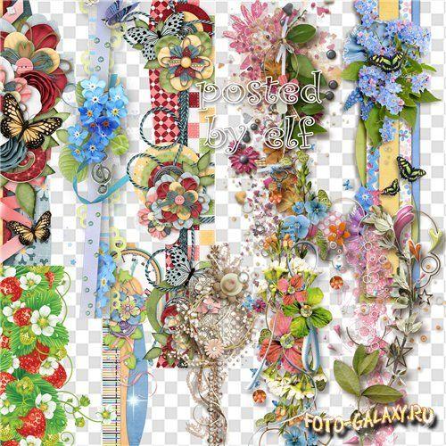 Цветочные бордюры, кластеры, скрап композиции - клипарт для дизайна в фотошопе