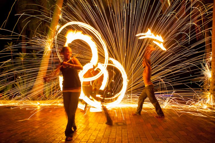 Spectacular fire dancing show at Iririki Island Resort - Vanuatu #resort #tropical #firedancing #holiday #firetwirling #commercial #photography