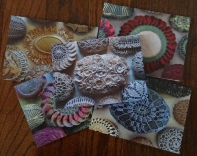 Lege Notitiekaarten, haakwerk Lace stenen kaarten, Set van 5, met enveloppen, briefpapier, Monicaj