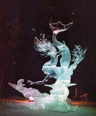 Mermaid ice sculpture