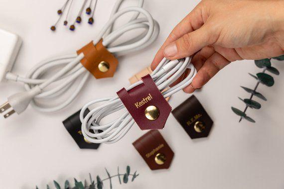 Head Phones Cord Organizer Vinyl Cord Keeper Cord Keeper Orange Cord Wrap Birthday Gift Cord management Power Cord Holder