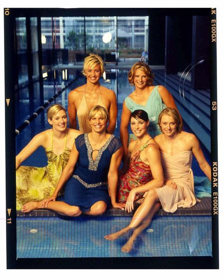 The golden girls: Jodie Henry, Lisbeth Libby Trickett (née Lenton), Giaan Rooney, Alice Mills, Brooke Hanson, Liesel Jones. Some of the Australian women who won gold medals for swimming at the 2004 Athens Olympics
