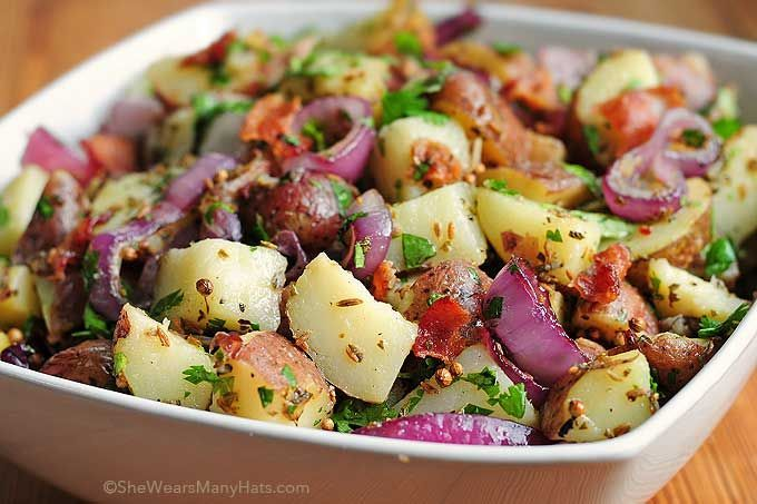 Texas Style New Potato Salad Recipe | http://shewearsmanyhats.com/texas-style-new-potato-salad-recipe/