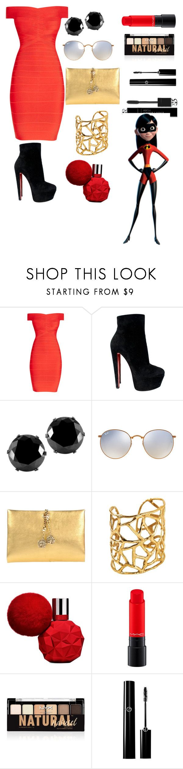 """""""The incredibles"""" by koalabear129 ❤ liked on Polyvore featuring Hervé Léger, Christian Louboutin, West Coast Jewelry, Ray-Ban, Roberto Cavalli, MAC Cosmetics, NYX, Christian Dior and Disney"""